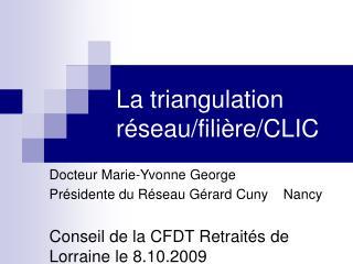 La triangulation réseau/filière/CLIC