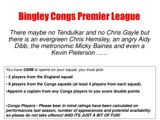 Bingley Congs Premier League