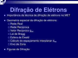 Difração de Elétrons