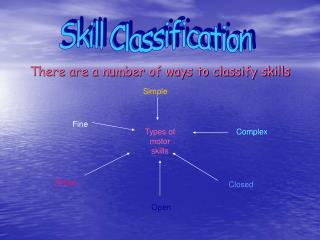 There are a number of ways to classify skills