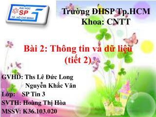 Trường ĐHSP Tp.HCM Khoa: CNTT