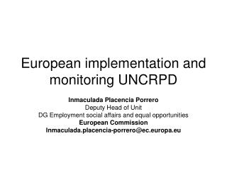 European implementation and monitoring UNCRPD