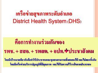 เครือข่ายสุขภาพระดับอำเภอ    District Health System  ( DHS )
