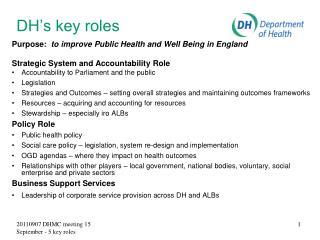DH's key roles