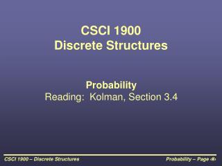 CSCI 1900 Discrete Structures