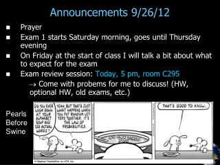 Announcements 9/26/12