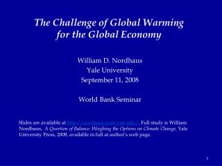 The Challenge of Global Warming for the Global Economy