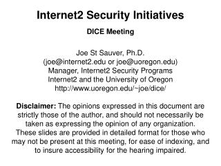 Internet2 Security Initiatives
