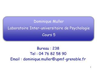 Dominique Muller Laboratoire Inter-universitaire de Psychologie Cours 5