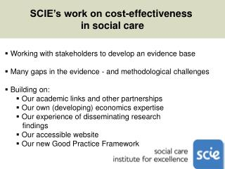 SCIE's work on cost-effectiveness  in social care