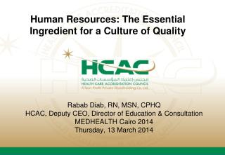 Human Resources: The Essential Ingredient for a Culture of Quality