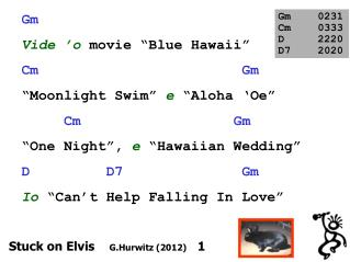 "Gm Vide  ' o movie ""Blue Hawaii"" Cm                         Gm ""Moonlight Swim"" e ""Aloha  ' Oe"""