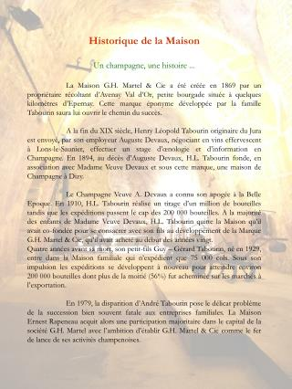 Historique de la Maison Un champagne, une histoire ...