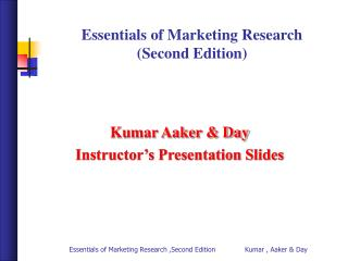 Essentials of Marketing Research  (Second Edition)
