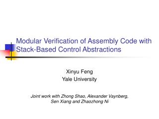 Modular Verification of Assembly Code with Stack-Based Control Abstractions