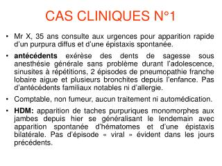 CAS CLINIQUES N�1