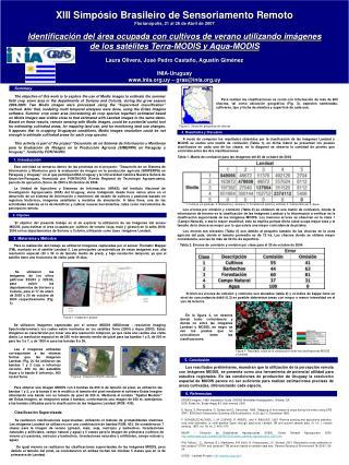 XIII Simpósio Brasileiro de Sensoriamento Remoto Florianópolis, 21 al 26 de Abril de 2007