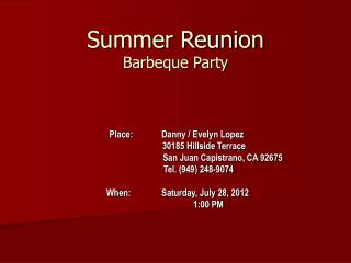 Summer Reunion Barbeque Party