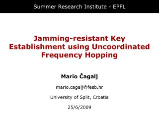 Summer Research Institute - EPFL