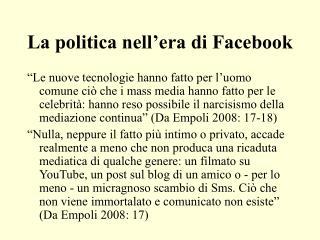 La politica nell�era di Facebook