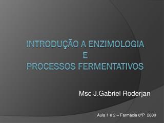 Introdução a Enzimologia e Processos fermentativos
