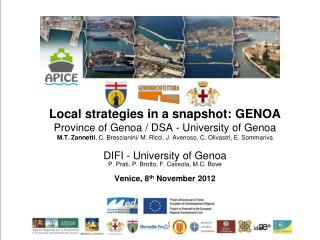 Local strategies in a snapshot: GENOA Province of Genoa /  DSA - University of Genoa