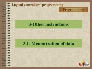 Logical controllers' programming