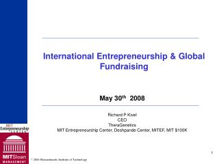 International Entrepreneurship & Global Fundraising