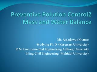 Preventive  Polution Control2 Mass and  Water Balance