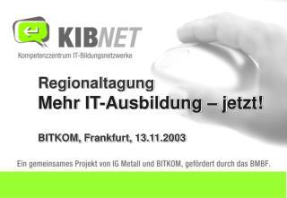Regionaltagung Mehr IT-Ausbildung – jetzt! BITKOM, Frankfurt, 13.11.2003