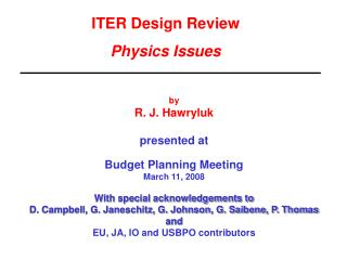 ITER Design Review  Physics Issues