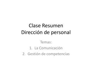 Clase Resumen Dirección de personal