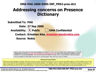 OMA-PAG-2006-0590-INP_PRS2-pres-dict  Addressing concerns on Presence Dictionary