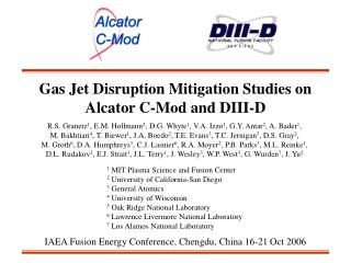 Gas Jet Disruption Mitigation Studies on Alcator C-Mod and DIII-D
