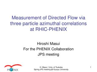 Measurement of Directed Flow via three particle azimuthal correlations at RHIC-PHENIX
