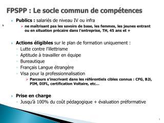 FPSPP : Le socle commun de compétences