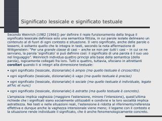 Significato lessicale e significato testuale