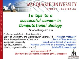 1o tips to a successful career in  Computational Biology