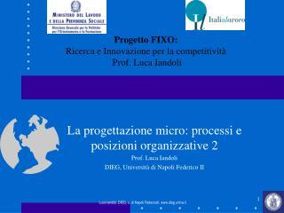 La progettazione micro: processi e posizioni organizzative 2 Prof. Luca Iandoli