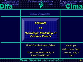Lectures  on Hydrologic Modelling of Extreme Floods