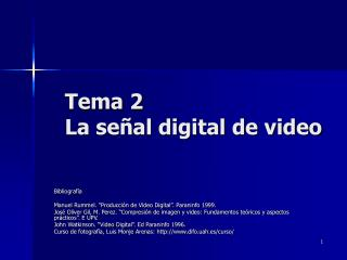 Tema 2 La señal digital de video