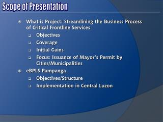 What is Project: Streamlining the Business Process of Critical Frontline Services Objectives