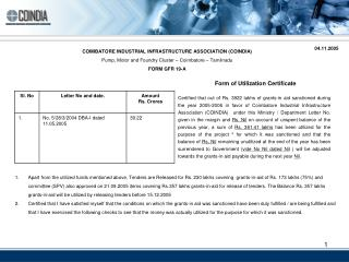 COIMBATORE INDUSTRIAL INFRASTRUCTURE ASSOCIATION (COINDIA)