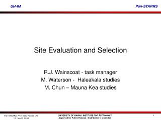 Site Evaluation and Selection