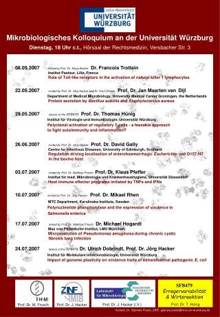 Mikrobiologisches Kolloquium an der Universit�t W�rzburg