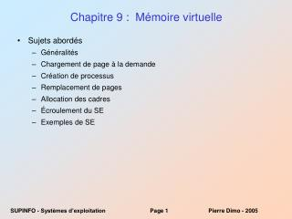 Chapitre 9 :  Mémoire virtuelle