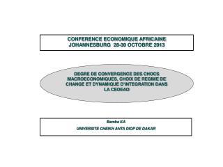 CONFERENCE ECONOMIQUE AFRICAINE JOHANNESBURG  28-30 OCTOBRE 2013