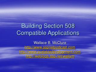 Building Section 508 Compatible Applications
