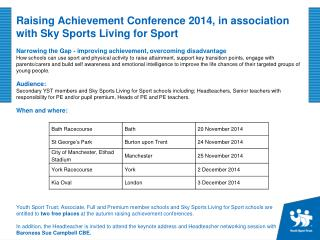 Raising Achievement Conference 2014, in association with Sky Sports Living for Sport