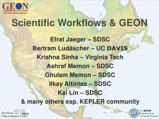 Scientific Workflows & GEON